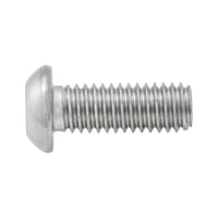 Screw with flattened half round head and hexagon socket