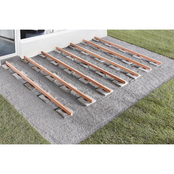 cale d 39 appui caoutchouc pour lambourde de terrasse pour. Black Bedroom Furniture Sets. Home Design Ideas