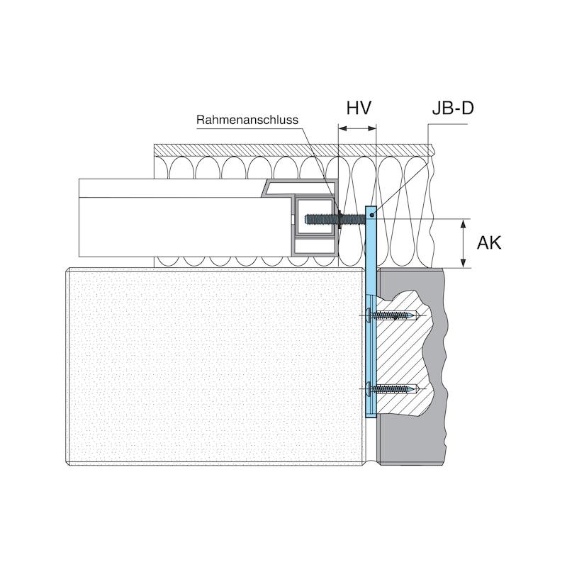 Fenstermontageschiene mit Anschraubplatte JB-D - 0