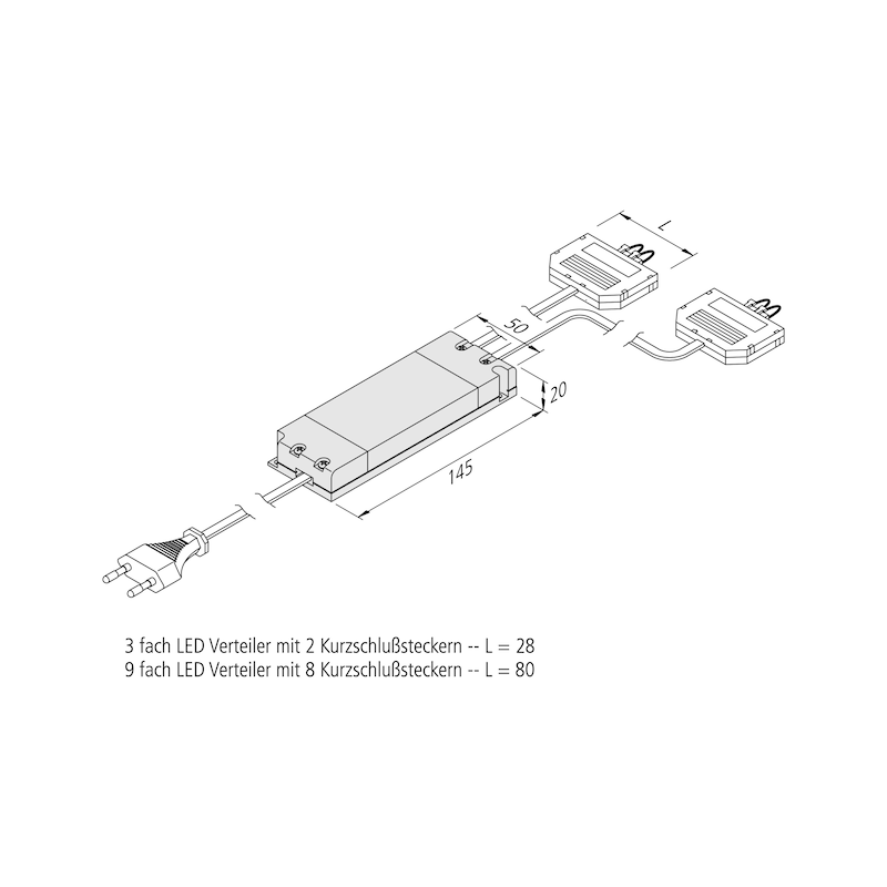 Elektronischer Sicherheitstransformator - TRAFO-ET-LED-2X3FACH-LD1-2X9W-350MA-DC