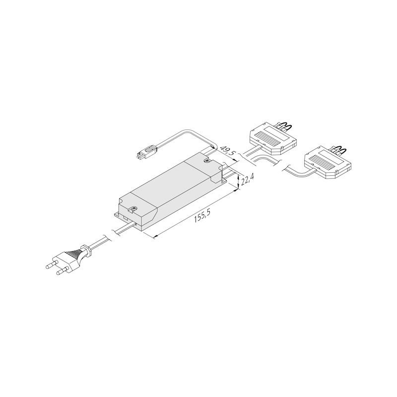 Elektronischer Sicherheitstransformator - TRAFO-ET-LED-2X3FACH-LD1-2X9W-350MA-DIM