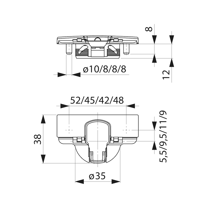 Topfscharnier Nexis Impresso 110 - SHAN-NEXIMP-52/5,5-MITT-(NI)-110GRD