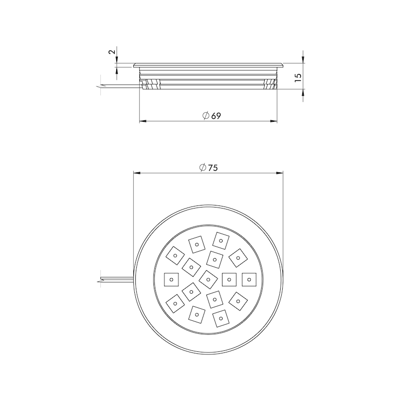 LED Einbauleuchte - LEUCHT-LED-EBAU-SMD16-2,58W-WW