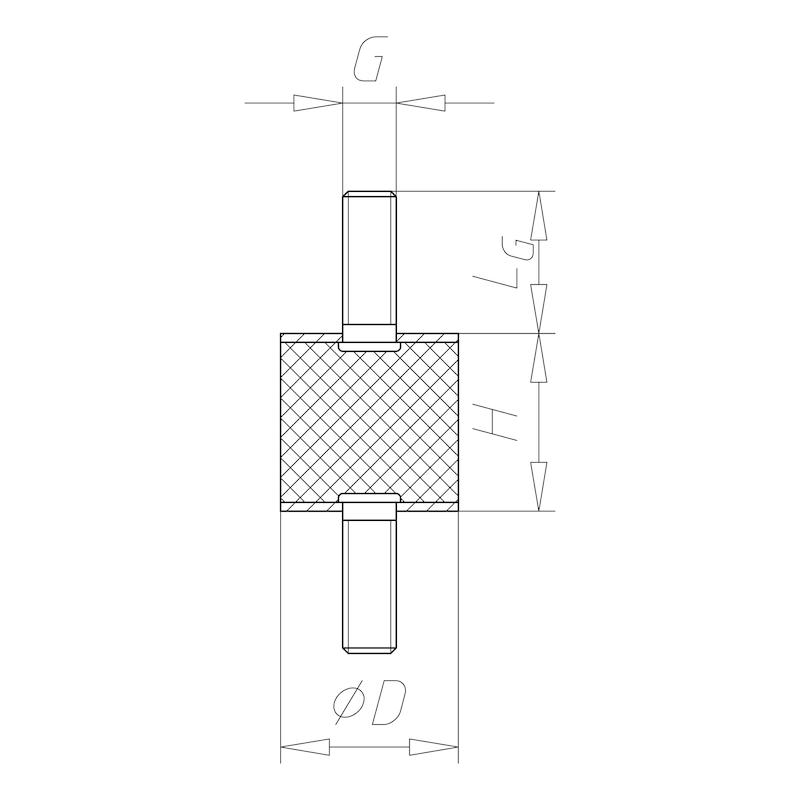 Rubber/metal buffer Type A - C2C - BUFR-RBR/MET-A-40X30-M8