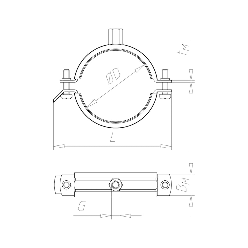 Pipe clamp TIPP<SUP>®</SUP> Robust - C2C - 2