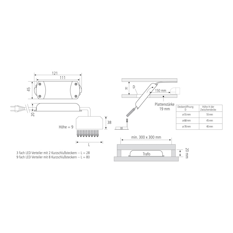 Elektronischer Sicherheitstransformator - TRAFO-ET-LED-3FACH-LD1-9W-350MA-DC