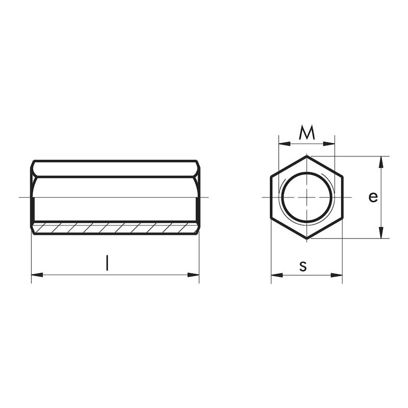 Hexagonal galvanised steel spacer sleeve - 2