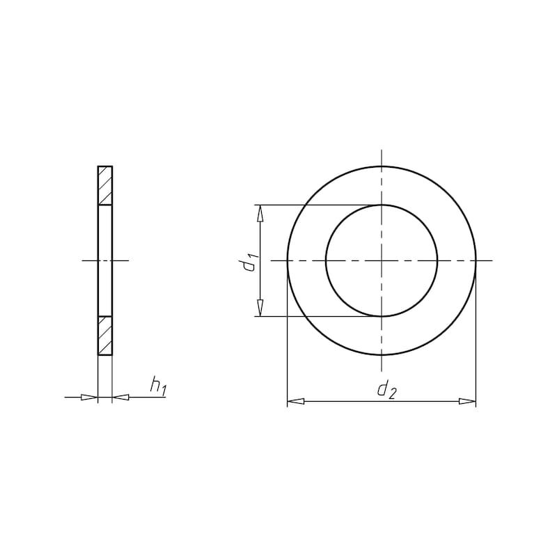 Flat washer for hexagon bolts and nuts - 2
