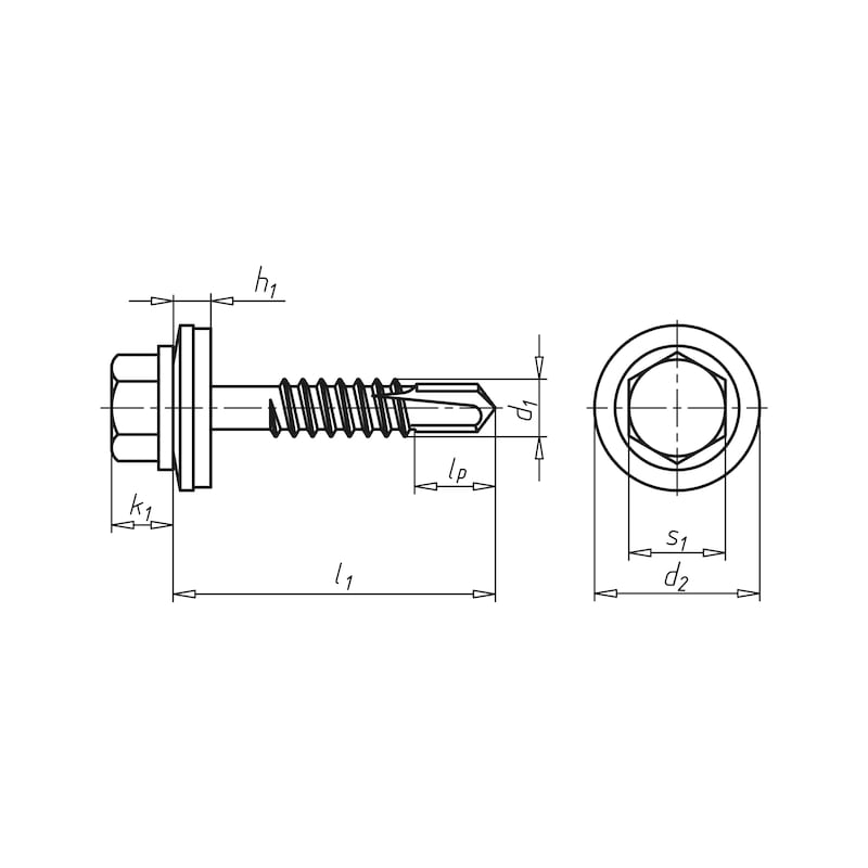 Self-drilling façade construction screw with hexagon head and sealing washer piasta<SUP>®</SUP> - 2