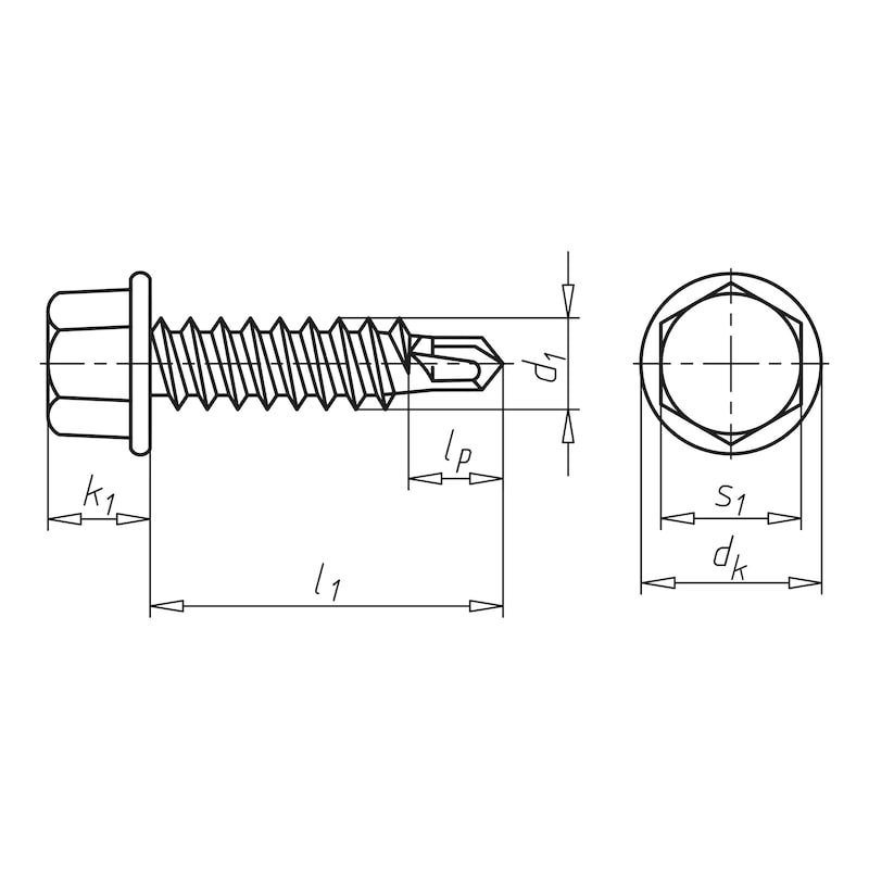Self-drilling façade construction screw with hexagon head and flange piasta<SUP>®</SUP> - 2
