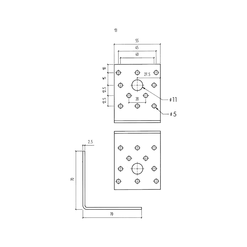 Angle connector Type A - ANGL-WOCON-A-70X70X55X2,5