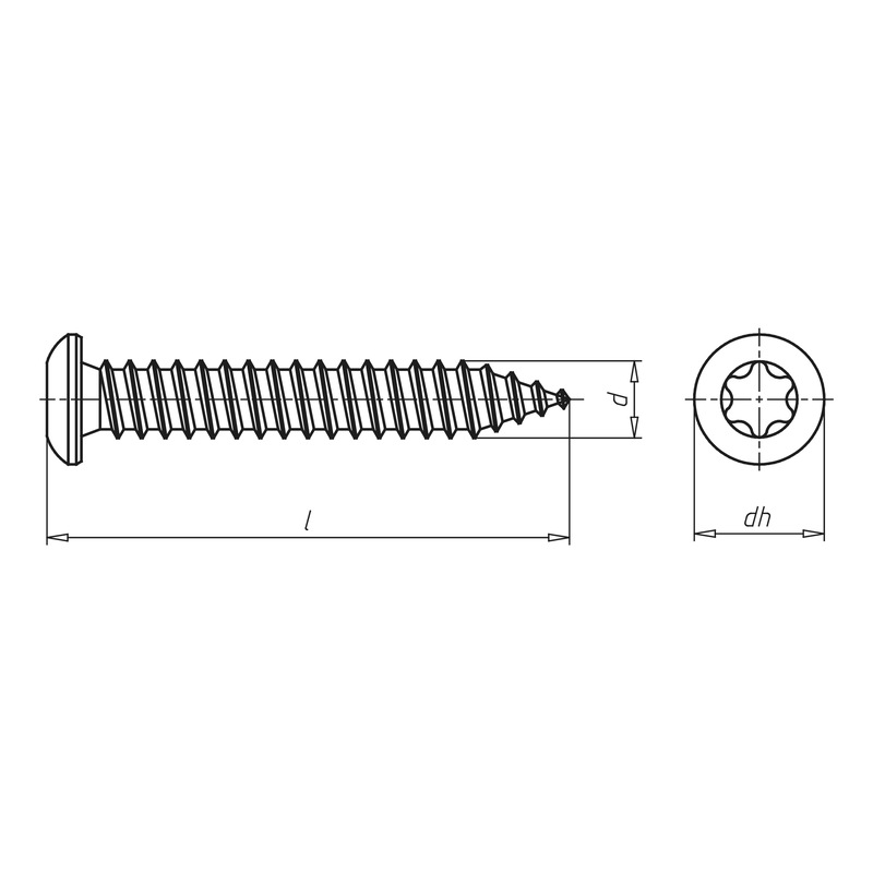 Amo<SUP>® </SUP>III spacing assembly screw  7.5 TYPE 3 half round head - SCR-PANHD-AW30-(A2K)-7,5X92