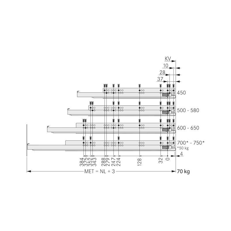 Underfloor guide full extension Dynapro liquid soft-close, 40/70 kg - 12