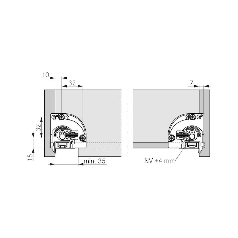 Underfloor guide full extension Dynapro liquid soft-close, 40/70 kg - 9