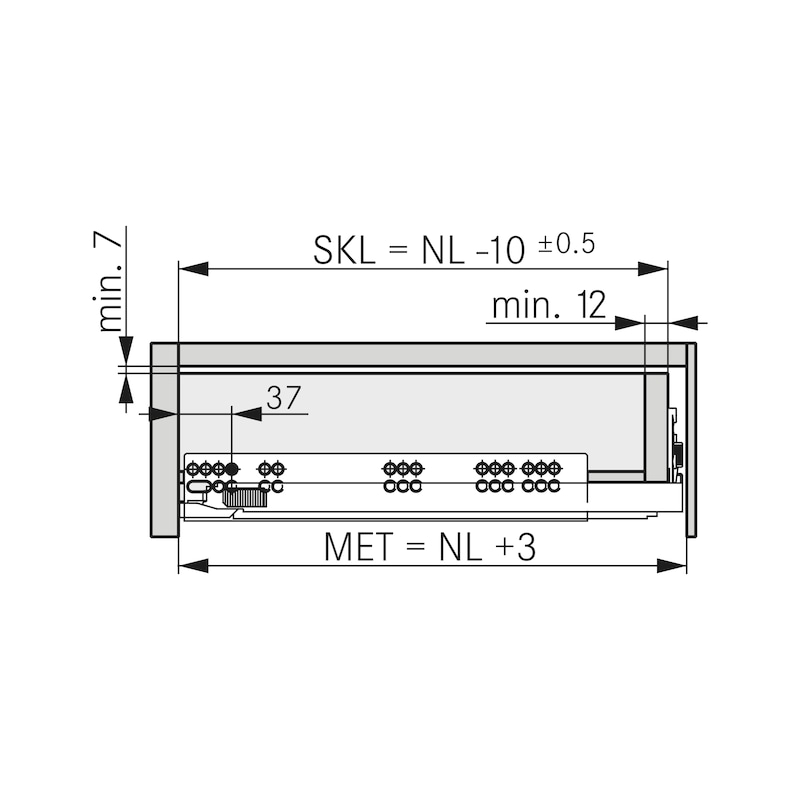 Underfloor guide full extension Dynapro liquid soft-close, 40/70 kg - 3