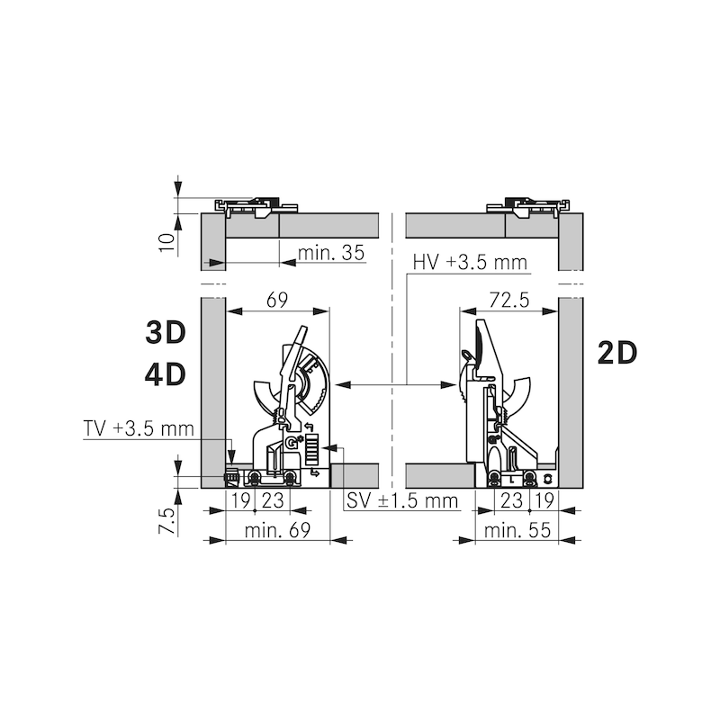 Underfloor guide full extension Dynapro liquid soft-close, 40/70 kg - 8