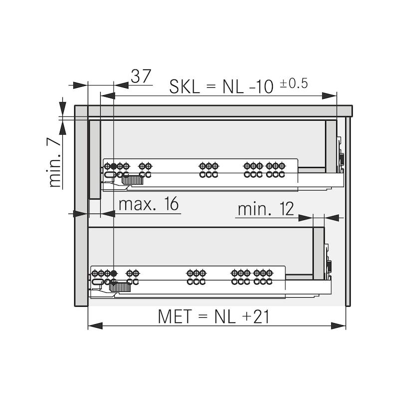 Underfloor guide full extension Dynapro liquid soft-close, 40/70 kg - 5