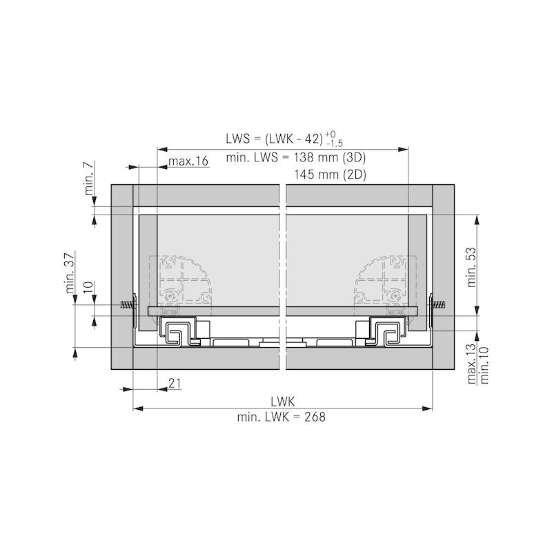 Underfloor guide full extension Dynapro liquid soft-close, 40/70 kg - 2