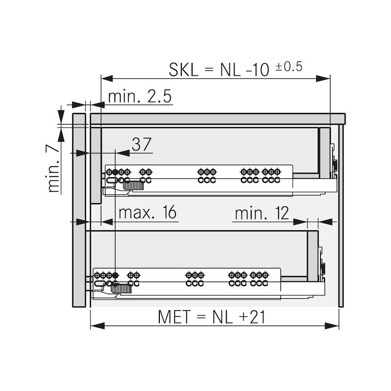 Underfloor guide full extension Dynapro liquid soft-close, 40/70 kg - 6