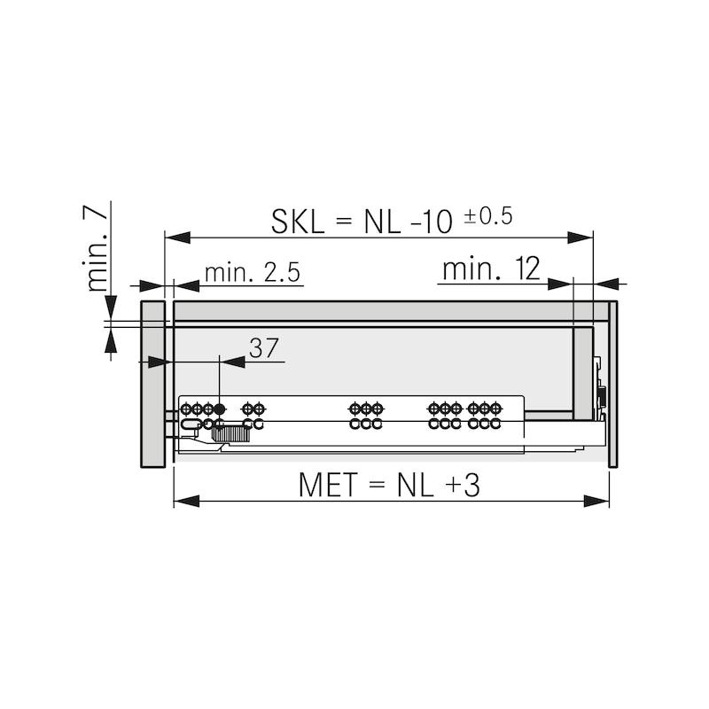 Underfloor guide full extension Dynapro liquid soft-close, 40/70 kg - 4