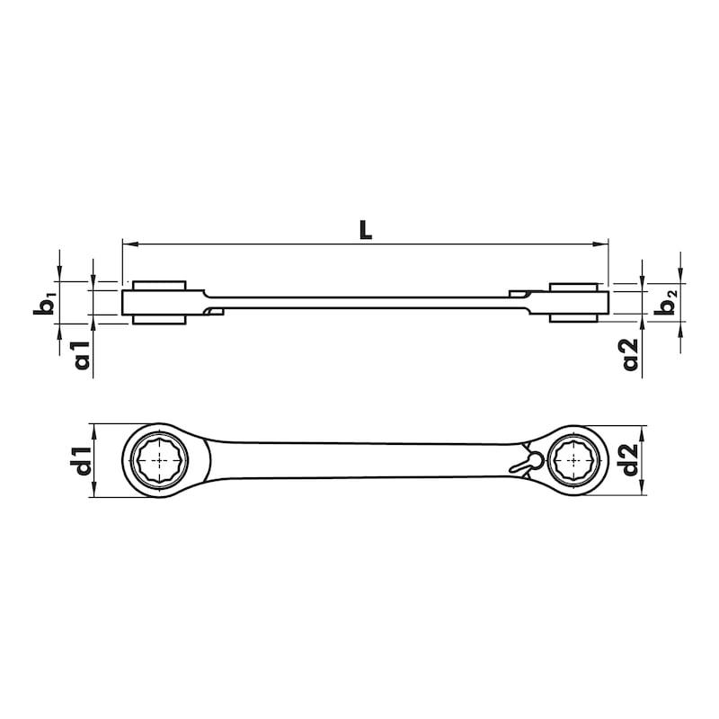 Doppelring-Ratschenschlüssel 4 in 1 - RATDPRGSHSL-(10/13-17/19MM)