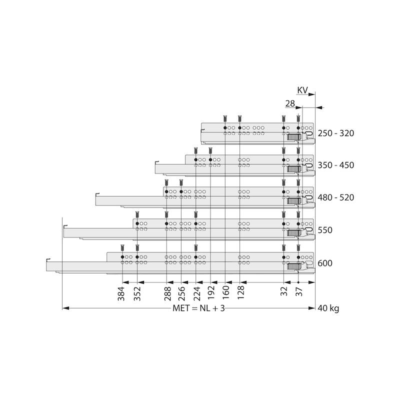 Underfloor guide full extension Dynapro liquid soft-close, 40/70 kg - 11