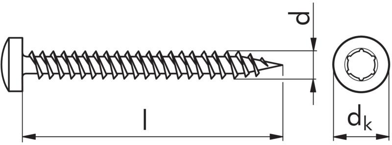 Vis à bois tête cylindrique bombée  0153030017 ~ Vis Bois Tete Plate