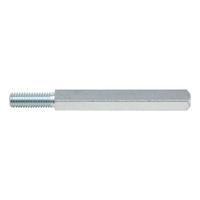 Steel door spindle  For nylon door handles, diameter 23 mm