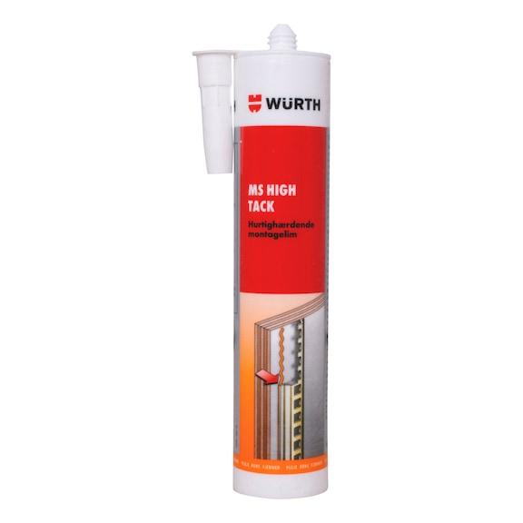MS High Tack   Hurtighærdende, permanent elastisk klæber på MSpolymer-basis med lav afdampning til indeklimaet. Særdeles kraftigt klæbende og med høj startklæbeevne.