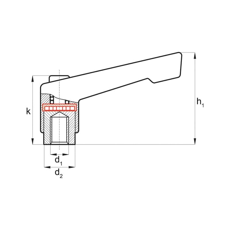 Verstärkter Klemmhebel mit Innengewinde - 2