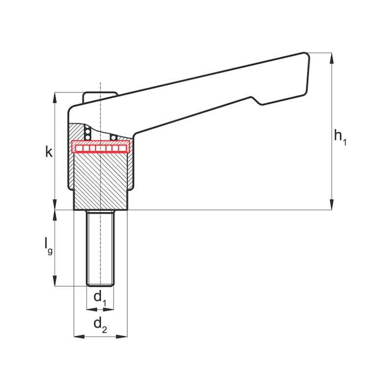 Klemmhebel mit Außengewinde in verstärkter Ausführung  - KLEHBL-AG-ST-VER-ORNG-M12X43X30