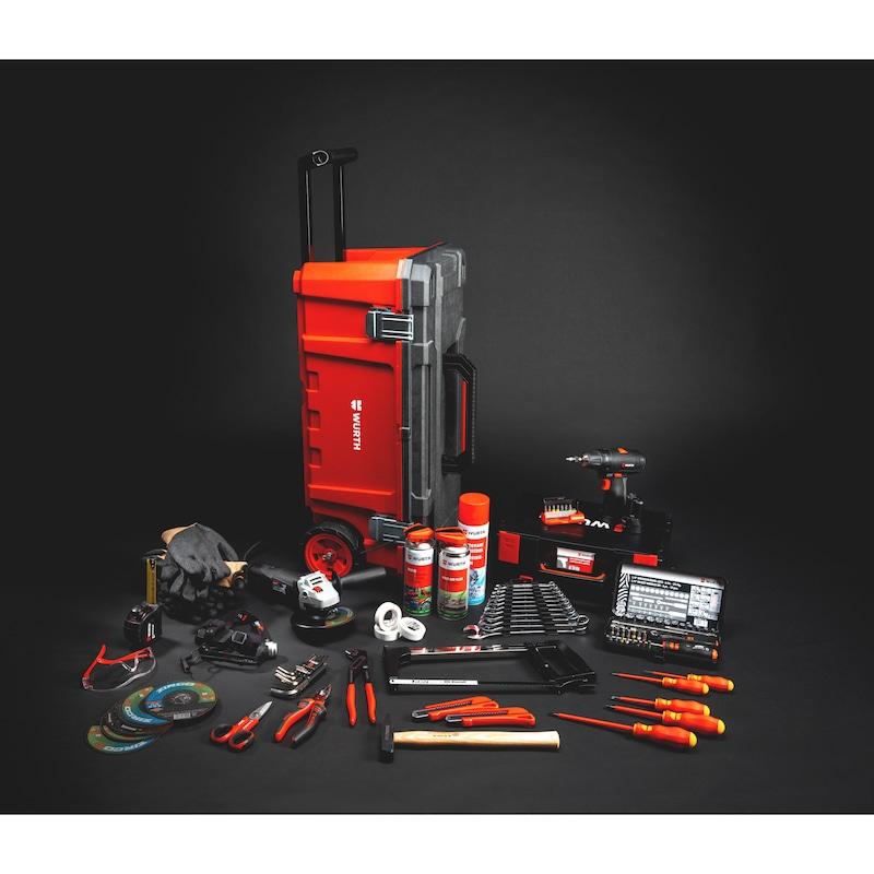 Caisse à outils trolley avec outillage et consommable, 146 pièces Gamme générale de produits pour une utilisation mobile ou en atelier  - LOT CAISSE + OUTILLAGE + CONSO 146 P