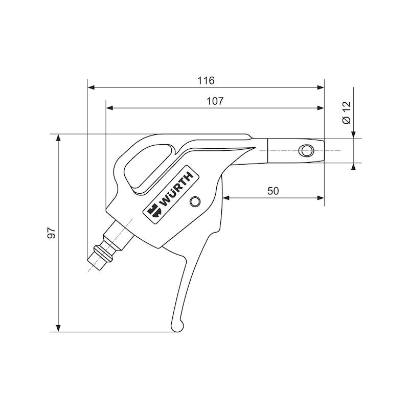Soufflette composite à air comprimé Buse courte 6 mm - 2
