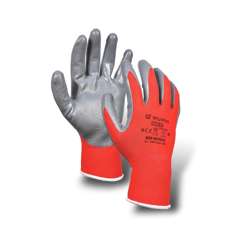 防护手套 红色,丁腈橡胶 - 1
