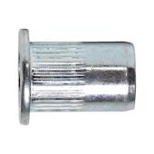Rivet nut, round pan head knurled shaft