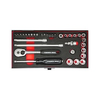 1/4 Inch Socket wrench set 34 pieces, hexagon