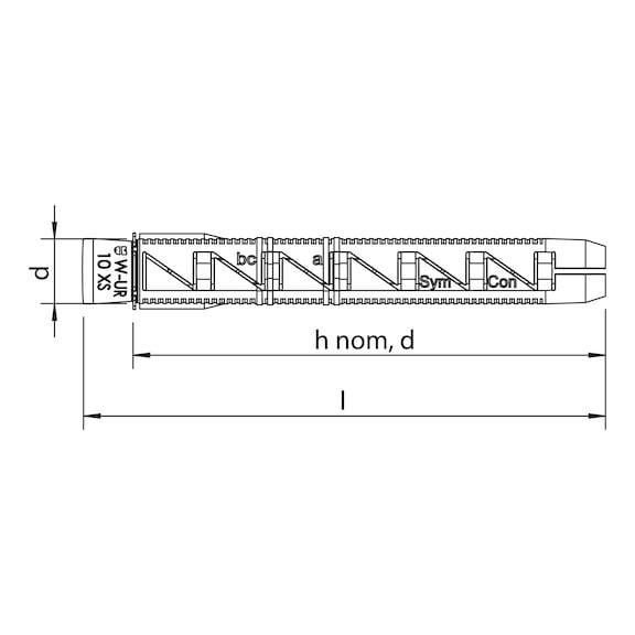 Kunststoff-Rahmendübel W-UR 10 XS - 2