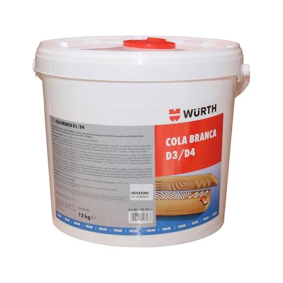 Cola branca para madeira D3/D4  - COLA BRANCA D3/D4 12KG