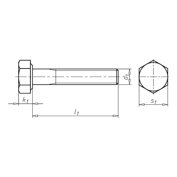 Kuusioruuvi, osakierre - KUUSIORUUVI ISO 4014 10.9 ZN M16X50/38