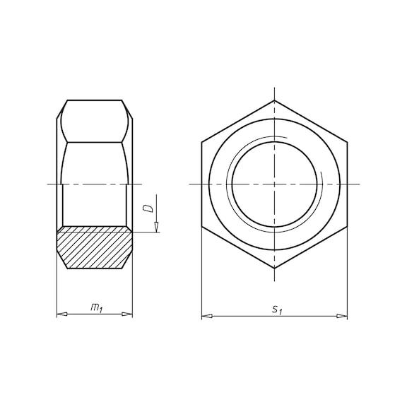 10 x M10 Sechskant-Mutter SW17 DIN 934 Stahl galvanisch verzinkt HEX-Muttern 6kt