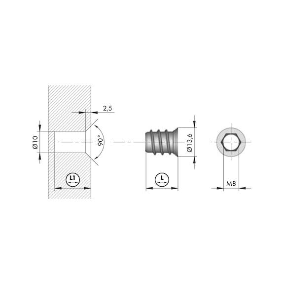 Porca de embutir SKD M8 - PORCA DE EMBUTIR SKD M8X15 P. 0683241060