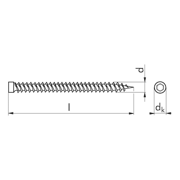Vite per il fissaggio distanziato Amo<SUP>® </SUP>III 7,5 tipo 2 con testa cilindrica Ø 8,0 mm - VITI AMO 3 TC AW 30 ZN B.    7,5X152