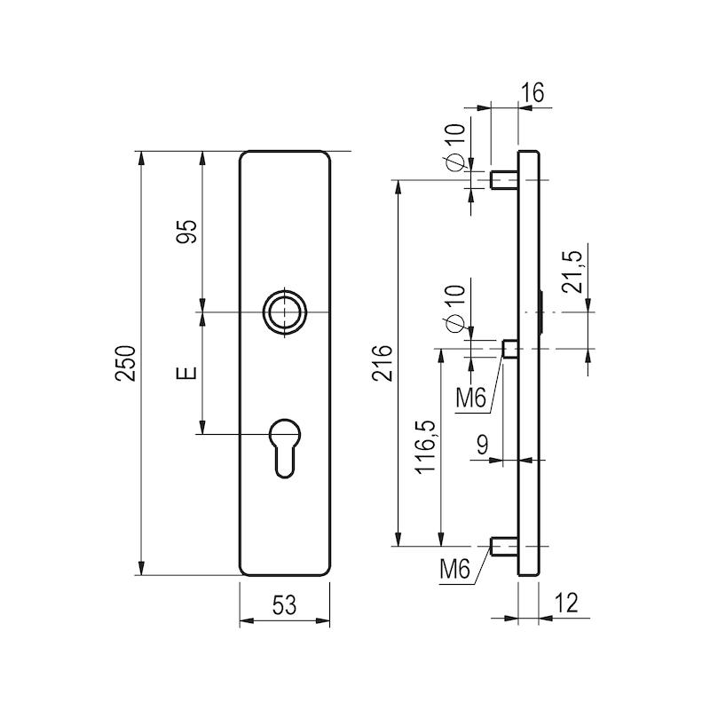 Aluminium-Schutzbeschlag S 45 - 2