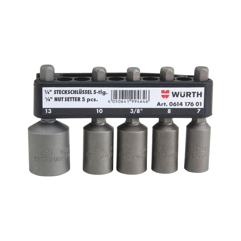 1/4 inch dopsleutel, set - KRACHTDOPSL-1/4IN-SET-MAGN-L51MM-5DLG