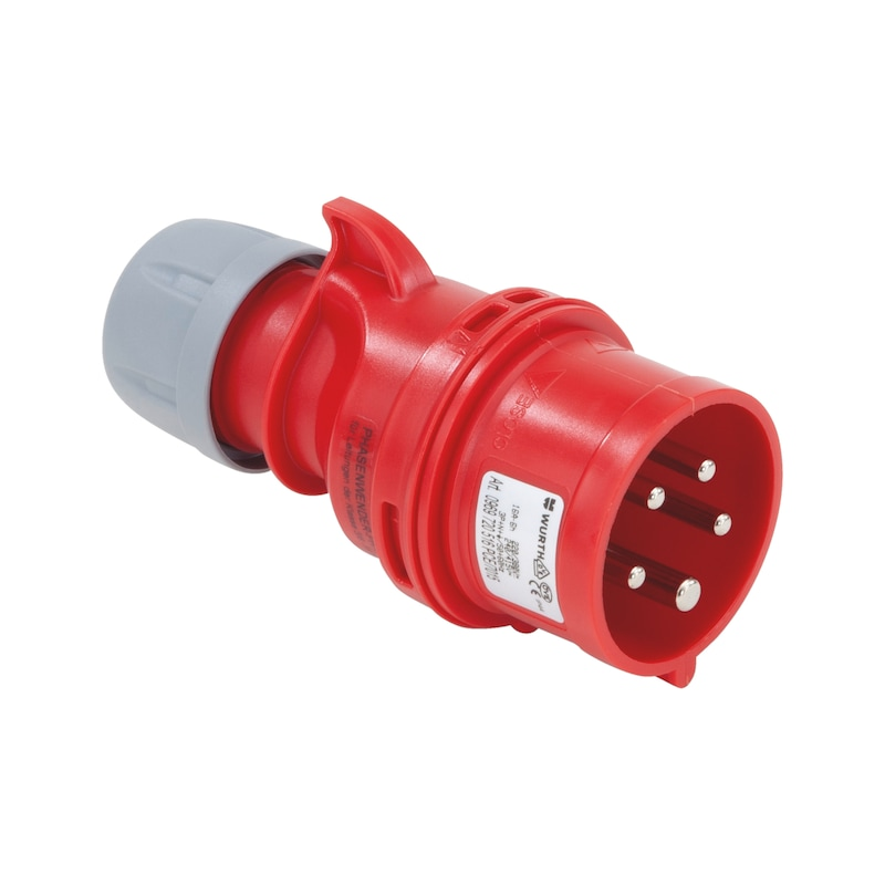 CEE-Stecker mit Phasenwender 400 V, 6 H - PHSWEND-CEE-ROT-5PLG-16A-400V-IP44