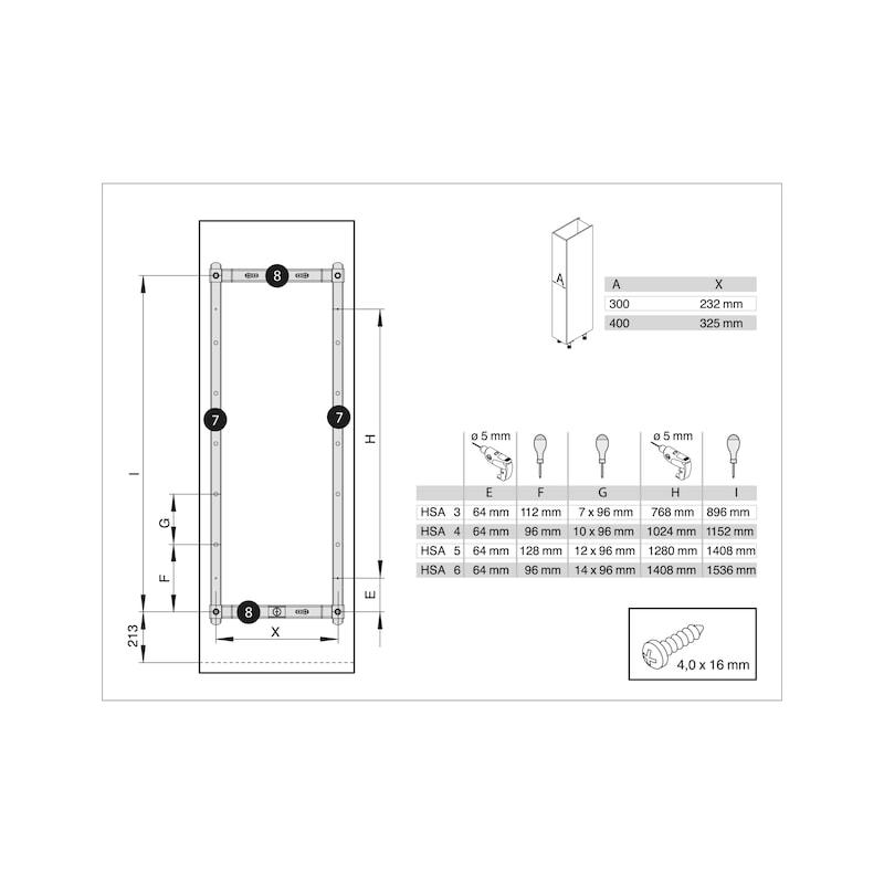 Hochschrankvollauszug VS TAL Larder Spin - AUSZG-HSHRNK-VA-TLS-CR-(1990-2240)-400