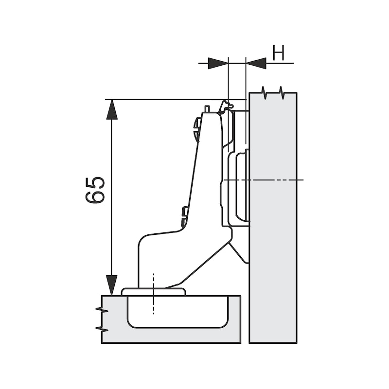 Topfscharnier Nexis Impresso 100 - SHAN-NEXIMP-52/5,5-AUTOM-ELGND-100GRD