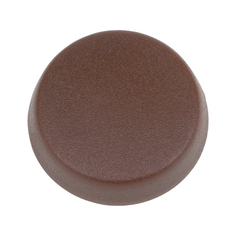 Cover cap, overlapping, for hexalobular head and AW drive - CAP-FL-R8016-MAHOGANYBROWN-D15