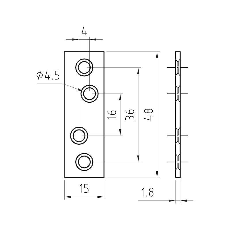 Verbindungsblech - VERBBL-ST-(A2K)-4LOCHUNGEN-48X15MM