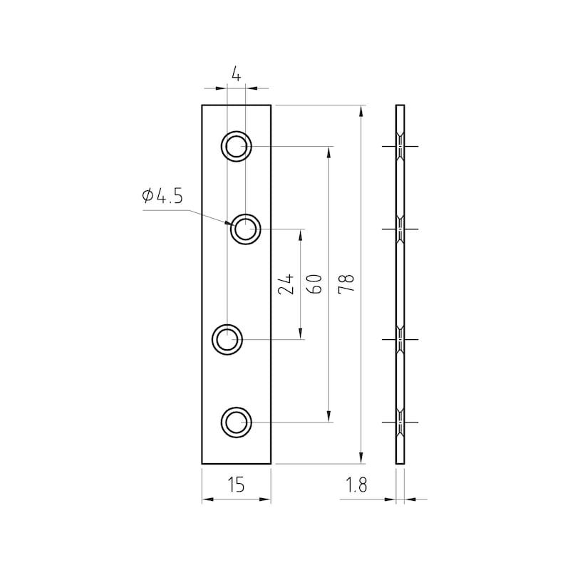 Verbindungsblech - VERBBL-ST-(A2K)-4LOCHUNGEN-78X15MM